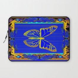 Lapis Blue & Gold Monarch Western Art design Laptop Sleeve