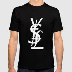 YSL Dollar Yen GBP Symbol Black Mens Fitted Tee SMALL