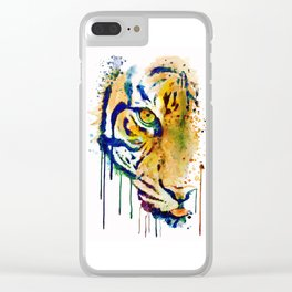 Half Faced Tiger Clear iPhone Case