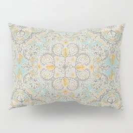 Gypsy Floral in Soft Neutrals, Grey & Yellow on Sage Pillow Sham