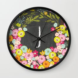 J botanical monogram. Letter initial with colorful flowers on a chalkboard background Wall Clock