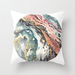 Abstract Circular Geode Watercolor Throw Pillow