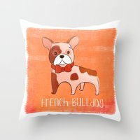 frenchie Throw Pillows featuring Frenchie by 52 Dogs