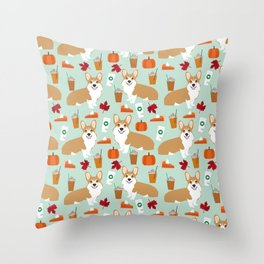 Corgi - Pumpkin Spice, psl, coffee, latte, pumpkin pie,  fall, autumn, holiday, Throw Pillow