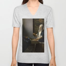 Woman Holding a Balance Johannes Vermeer Unisex V-Neck