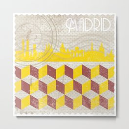 Madrid Vintage Stamp Metal Print