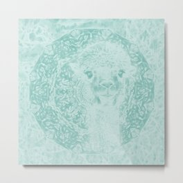 Happy Ghostly alpaca and mandala in Limpet Shell Blue Metal Print