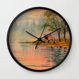 Elk Beside A misty River Wall Clock