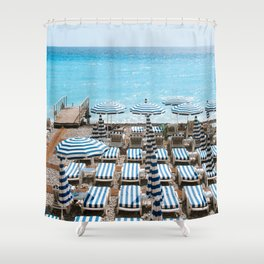 Famous Blue and White Striped Umbrellas on the Beach in Nice, Côte d'Azur, France | Fine Art City Nature Travel Photography | Europe Shower Curtain