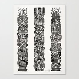 Tiki Totems – Black Canvas Print