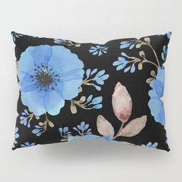 Blue flowers with black Pillow Sham