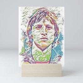 Johan Cruyff Abstract Fan Art Portrait Mini Art Print