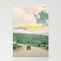 run Stationery Cards featuring NEVER STOP EXPLORING - vintage volkswagen van by Leslee Mitchell