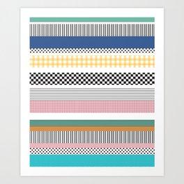 Mixed Pattern Stripe Print Color Blocking Art Print