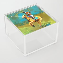 poloplayer abstract turquoise ochre Acrylic Box