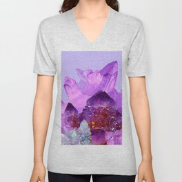 VIBRANT PURPLE AMETHYST CRYSTALS Unisex V-Neck