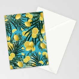 Summer Lemon Twist Jungle #4 #tropical #decor #art #society6 Stationery Cards