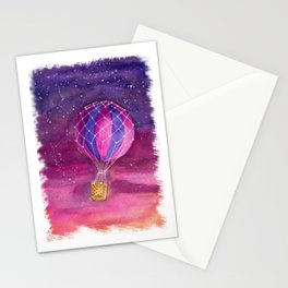 Watercolor air balloon in the sunset Stationery Cards