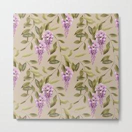 Seamless floral retro pattern background flowers Metal Print