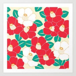 Shades of Tsubaki - Red & White Art Print