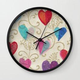 Vintage Hearts Wall Clock