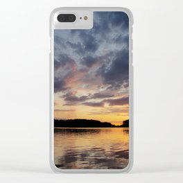 Spring Sunset - beautiful colors and reflections - cloudy sky Clear iPhone Case