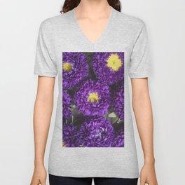 Bright Purple and Yellow Mum Flowers Unisex V-Neck
