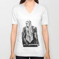 thranduil V-neck T-shirts featuring Thranduil by Lydia Joy Palmer