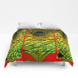ART DECO RED GOLDEN-GREEN PEACOCK  PATTERN Comforters