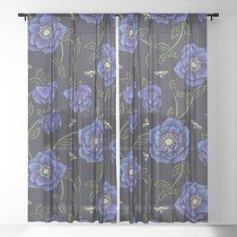 Midnight Hellebore Sheer Curtain