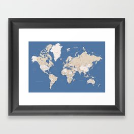 Blue and brown world map with cities Framed Art Print