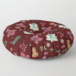 Colorful Christmas Red White Poinsettia Pine Cones Snowflakes Floor Pillow