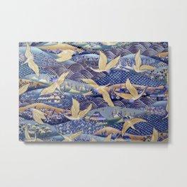Japanese Cranes Ancient Art Metal Print