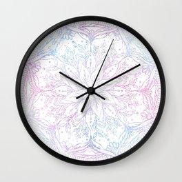 Magical Iridescent Poinsettia Flower Mandala White Design Wall Clock