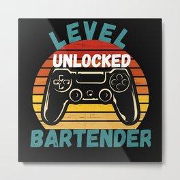 Level Unlocked Bartender Metal Print
