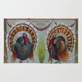 Thanksgiving Greetings 1906 Rug
