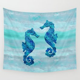 Blue Seahorse Couple Underwater Wall Tapestry