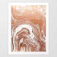 Marble suminagashi copper metallic japanese spilled ink watercolor ocean swirl marbling Art Print