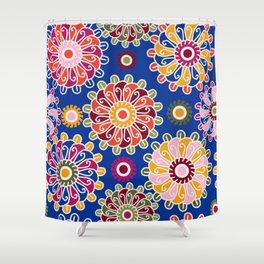 Optical Floral royal blue Shower Curtain