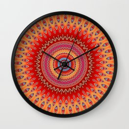 orange red mandala Wall Clock