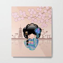 Japanese Keiko Kokeshi Doll Metal Print
