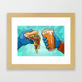 Pizza And Craft Beer Framed Art Print