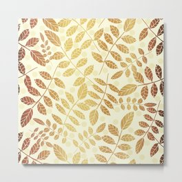 Golden trendy abstract leaves with off white background and yellow circles Metal Print