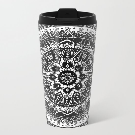 Black and White Mandala Pattern Metal Travel Mug