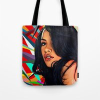 aaliyah Tote Bags featuring Baby Girl by Fake Wealth