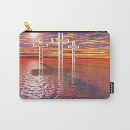 Christian crosses on red sea Carry-All Pouch
