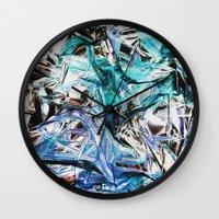 metallic Wall Clocks featuring Metallic by Lara Gurney