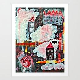 Nacht im Wolkendorf - Night in the Cloud Village Art Print