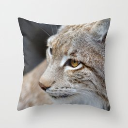 Young lynx close-up portrait Throw Pillow
