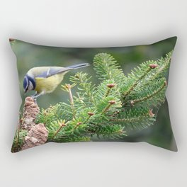 Blue Tit  (Cyanistes caeruleus) Rectangular Pillow
